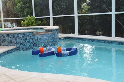 floating for hours on end in the heated pool