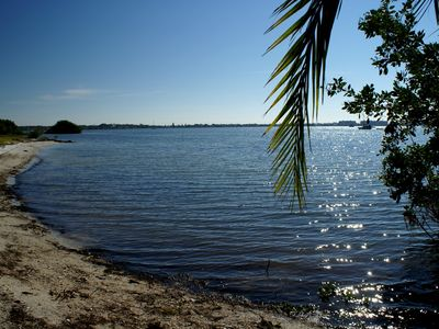 View from Gommer's beach on Boca Ciega Bay and Clam Bayou. Rent kayaks or boards