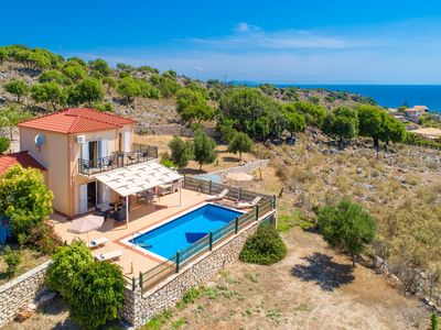Photo for Villa Olympia: Large Private Pool, Walk to Beach, Sea Views, A/C, WiFi