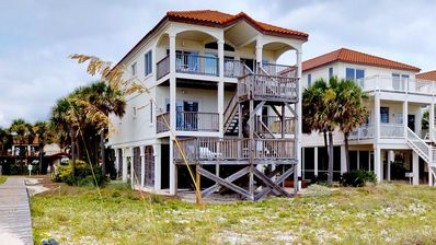 "Photo for Ready After Hurricane Michael! NO FEES! Beachfront, East End, Pets OK, Hot Tub, Fireplace, 6BR/5BA ""Beach Boy"""
