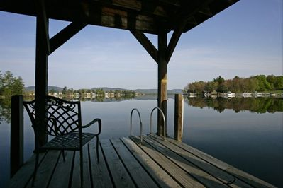 Sit, swim or fish off of the dock.  It accommodates a 27' boat.