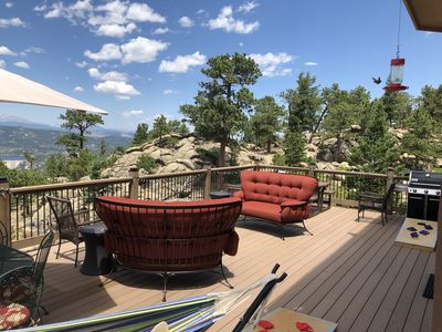 Large deck, fire pit, table and chairs, natural gas grill, views every direction