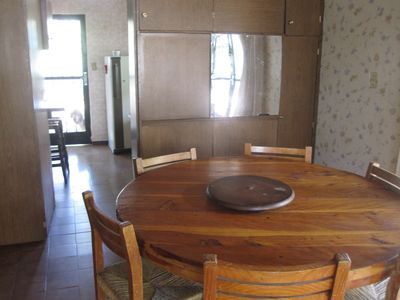 Living/Dining area and kitchen.  Gas stove.