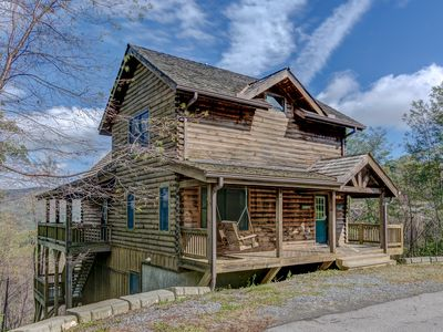 Photo for Cabin Life is Sweet! Mountain Top Views! Includes Biltmore! Hot tub on deck!