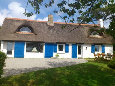 Photo for Breton thatched cottage, sea view, in Roscanvel (29) close to Quimper, Brest