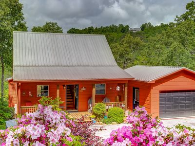 Photo for Mountain view cabin w/ private hot tub, fireplace, outdoor firepit, & lake views