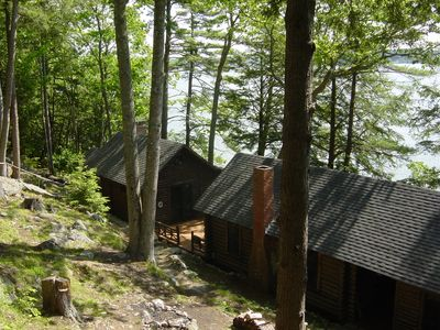 lower cabins (bedroom cabin, living room cabin with lofts, kitchen/dining cabin)