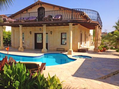 Photo for 5 bedroom luxury villa private pool and bar, free wifi aircon Sat TV 2 lounges