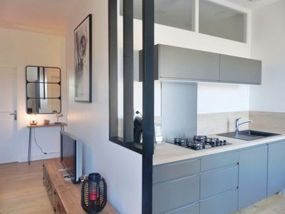 Photo for Beautiful apartment 100m from the beach, sleeps 6, 1 garage