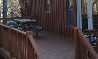 The private deck is the entrance to the Bunkhouse. The keys will be in the door