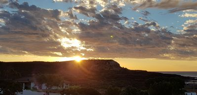 Sunset over the bluff.