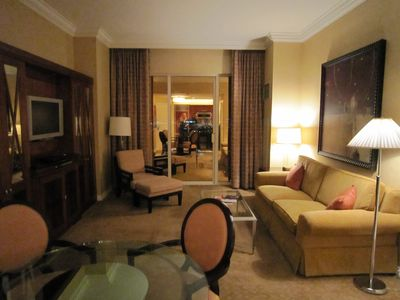 Our luxury condo with all the amenities - living room/dining room with cable TV