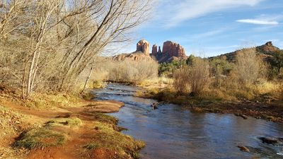 Cathedral rock and oak creek view in the fall from Crescent Moon Ranch