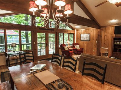 Photo for Fall Family Fun! 5 bedroom LAKESIDE cabin with GAMEROOM