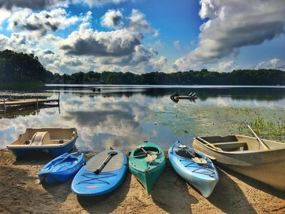 Rowboat, Kayaks, SUP,  and paddleboat are all included!