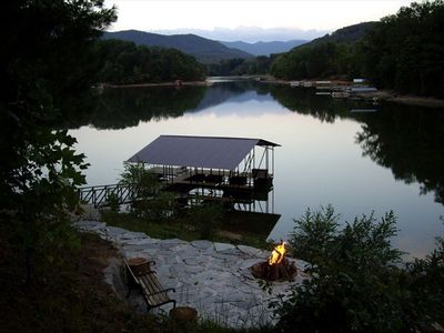Photo for Lakefront, Private dock, Views! Lakeside firepit, fishing & boating paradise