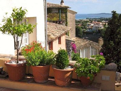Photo for Beautiful village house, terrace and sea view, near Nice and beach