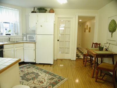 Fully equipped kitchen has dishwasher.
