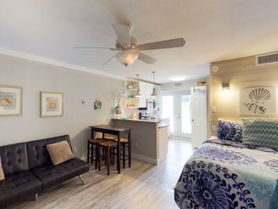 Photo for Beach-themed studio w/ balcony, shared pools, & dock, more!