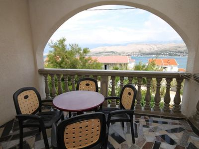 Photo for Two bedroom apartment with terrace and sea view Pag (A-6535-a)