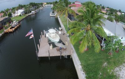 Water view of dock and property