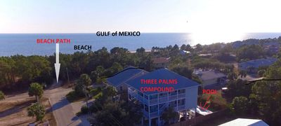 Three Palms Compound- BeachFront- With Labels For Beach Path and Gulf of Mexico