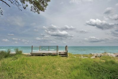 Deeded access to Hays Beach over this deck just 100 steps from house.
