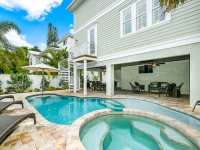 Photo for On the BEACH block! Luxury home, Pool and Spa, stay and relax with your friends!