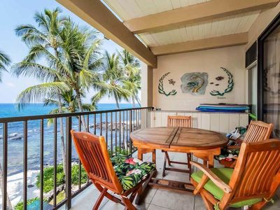 Photo for 1 BR oceanfront condo w/ lanai, shared pool, hot tub, BBQ area- WiFi included (P