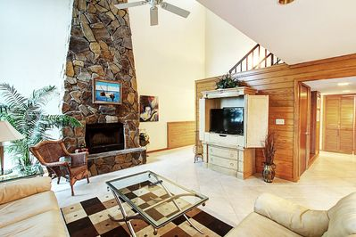 Spectacular stone fireplace in Living Room!