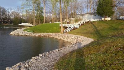 Lake of Egypt lake front with large two level deck