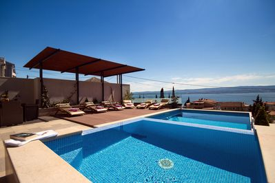 Heated private pool 32m2 with amazing sea views