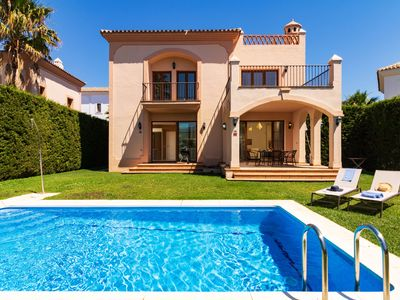 Photo for This 3-bedroom villa for up to 6 guests is located in Estepona and has a private swimming pool and W