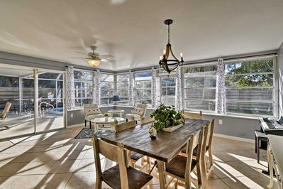Wine and dine in the light and airy sun room.