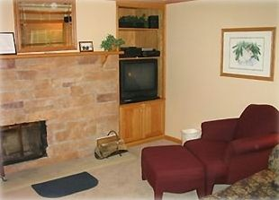 Living room with stone fireplace