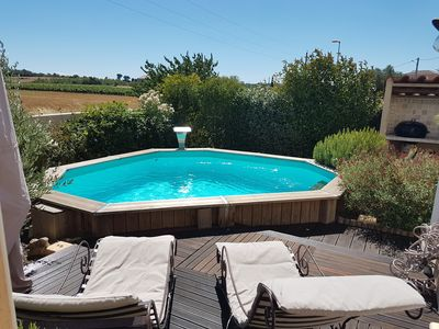 Photo for Villa of 102 m2 with pool and open views of the vineyards