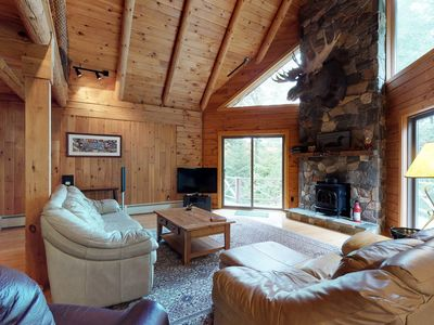 Photo for Log home on Moosehead Lake w/ dock, pebble beach, firepit & spacious deck!