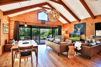 Timber cabin interior and view