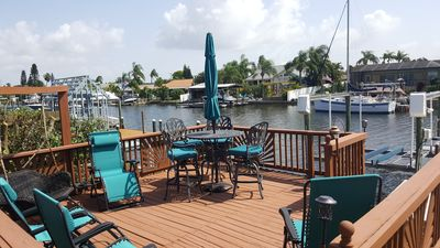 Relax and view the dolphins and manatees from the upper deck! Cheers!