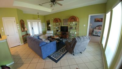 living room with fold out couch