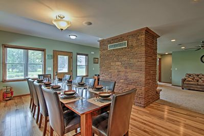 Large dining room with table to seat 10.