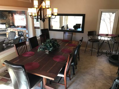 Dining Table and  Outside Deck (through window)