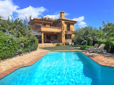 Photo for Very spacious family villa with large private pool and beautiful sea views