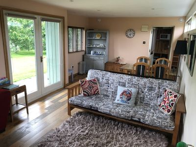Photo for Rural self-catering lodge.South-facing sun deck, garden, views over open fields.