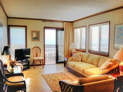Gorgeous oceanfront views of sand dunes and sea gulls in this centrally located condo