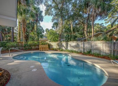 Fenced Pool Area at 2 Cassina Lane in South Forest Beach