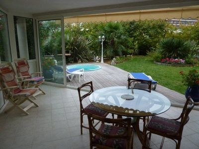 Photo for Rare juan-les-pins 2 ground garden rooms downtown, private Jacuzzi