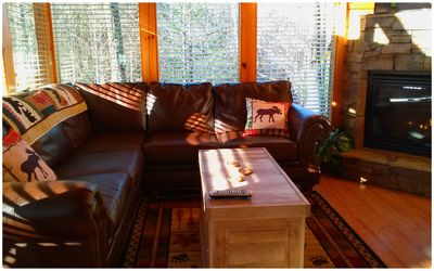 Photo for Rustic Elegant Peaceful 2 BR Mtn Cabin with beautiful views and games galore