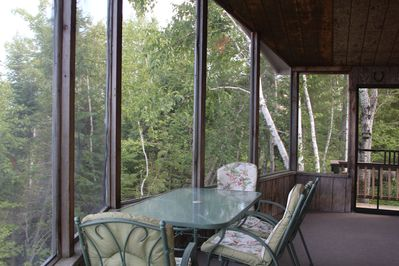 Large screen porch with vaulted ceilings