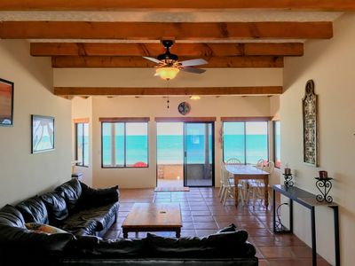 Panoramic ocean view from living room